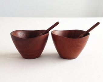 2 Danish Teak Wood Small Condiment Bowls by Ernst Henriksen Mid Century Modern Scandinavian