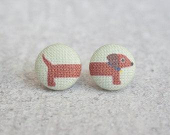 Long Dog on Green Fabric Button Earrings