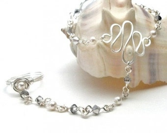 June Birthstone Slave Bracelet Ring Attached White Pearls & Silver Swarovski Crystals