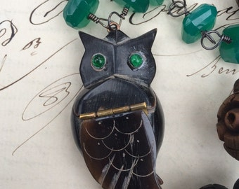 WHAT A HOOT - Green Onyx and French Rosary Bead Necklace with Antique Horn Hoot Owl Box