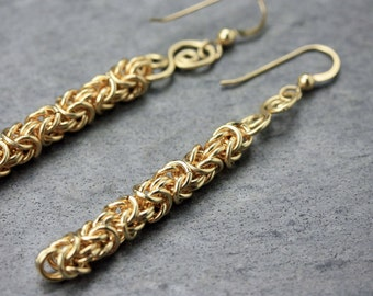 Gold-filled spiral chain maille earrings