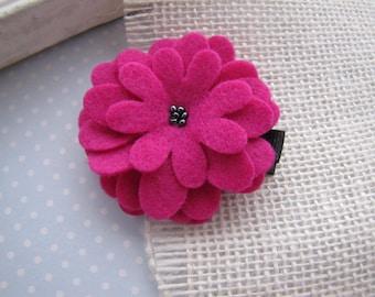 Cha Cha . clippie . felt flower . girls hair accessory . black fuchsia