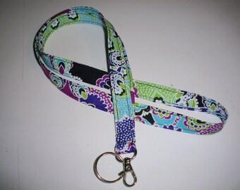 Lanyard ID Badge Holder - Black Purple Green Aqua Blue Paisley
