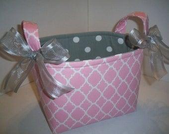 PInk Quatrefoil Gray Polka Dot Fabric Organizer Bin / Basket / Diaper Caddy- Personalization Available