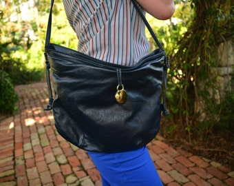 1970's Letisse label Navy leather hobo shoulder bag