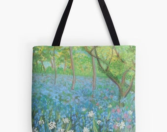 "Bluebell Woods Landscape Scenery Tote Bag - Artist's Pastel Painting Design. Two Sizes Available Medium 16"" and Large 18"""