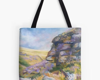 "Yorkshire Moors Landscape Scenery Tote Bag - Artist's Pastel Painting Design. Two Sizes Available Medium 16"" and Large 18"""