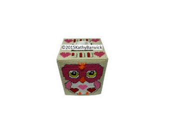 Plastic Canvas Hoo Loves You Owl Boutique Tissue Cover PDF Format  Instant Download