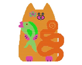 Plastic Canvas Cat Fishing Wall Hanging PDF format Instant Download