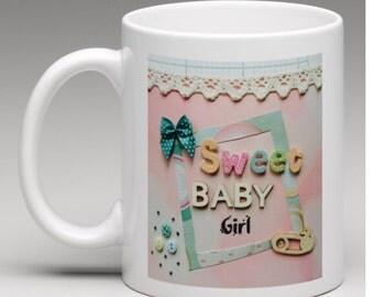 New Baby Girl gift, New Baby Girl Mug, custom girl, unique gift, handmade design, custom gift, pink gift, baby shower gift, new baby mug