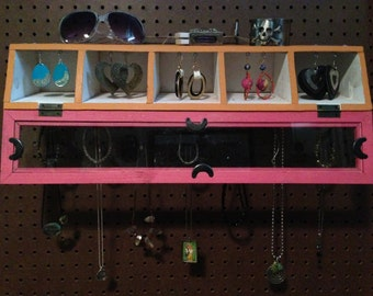 Upcycled Jewelry Holder Organizing Display Cabinet (White, Orange, and pink)