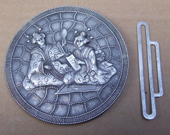 Art Nouveau belt buckle dress buckle sash buckle Art Deco buckle Edwardian buckle antiqued silver tone (AE)