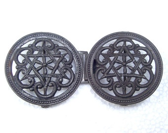 Art Nouveau belt buckle dress buckle sash buckle Art Deco buckle Edwardian buckle antiqued black lacquer (AL)