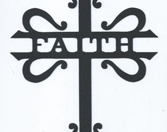 Faith split cross silhouette