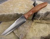 Curly Koa Tanto knife and leather sheath