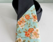 Dusty Shale Floral and Navy Wool Two Tone Tie