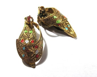 Damascene Clip Earrings VINTAGE Made in GERMANY Damascene Look Gold Enamel Clip Earrings Rhinestone Ready to Wear Vintage Jewelry (R19)