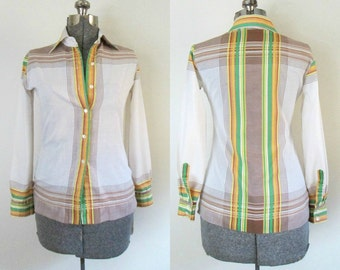 Vintage Tapered Button Front Blouse / 1970s Evan-Picone Shirt / 1970s Fashion Designer