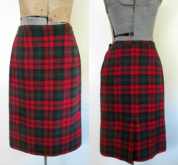 pendleton tartan plaid pencil skirt 1960 1970s wool
