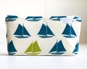 wet bag. small. nautical. sail boats. organic cotton. teal and apple