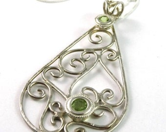 Peridot Wire Sculpted Sterling Silver Pendant on Chain