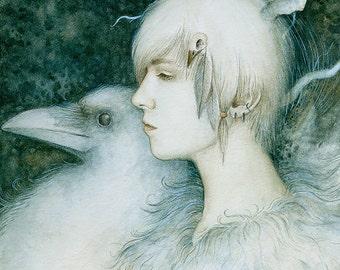White Crow  7 x 9 Print