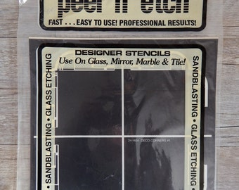 Armour Peel 'N' Etch Designer Stencil Deco Corners #1 Glass Supplies