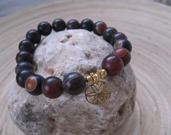 Gold Flower of Life Charm Bracelet, Charm Bracelet, Mens Jewelry, Large Bead Stack Bracelet, Brown Agate Gemstone Bracelet, Flower Of Life