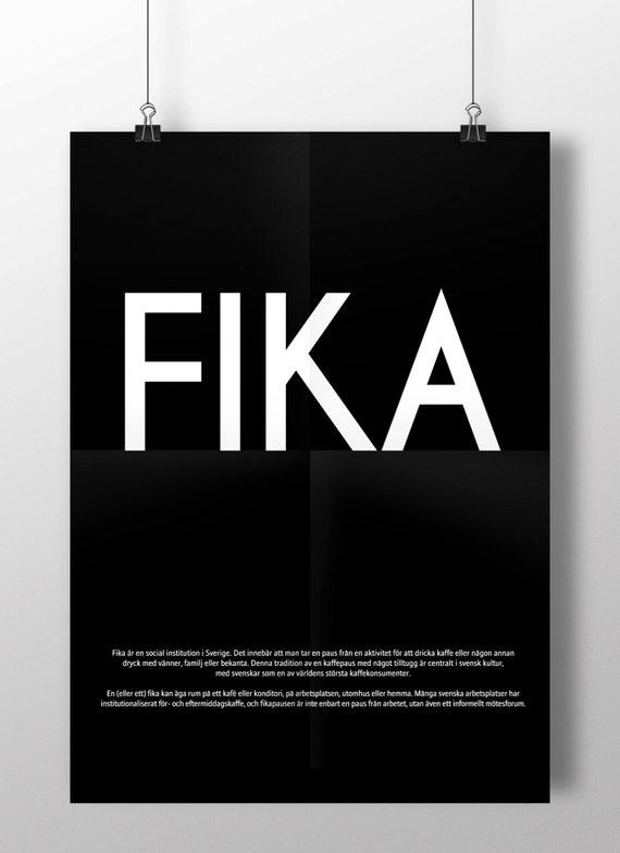 FIKA - Swedish or English text.  Luxury poster print. Size A3
