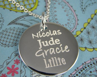 Mom Jewelry - Mothers Day Gift - Engraved Name Necklace - Personalized Mommy Jewelry for Mom