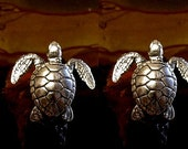 Sea Turtle Cufflinks in solid sterling silver Free Shipping