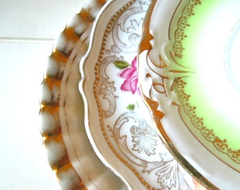 Mismatched China Saucers - Gold Accents - Set of 3