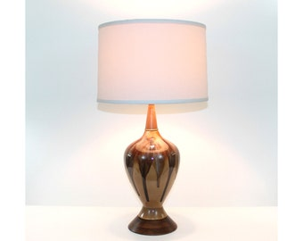 Mid-Century Modern Drip Glaze Pottery Lamp with Walnut Base and Neck Restored with New Shade