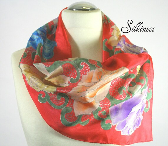 Red Valentine's Day Scarf Floral Silk Scarf- Perfect Gift for Her- Women's Gifts-  Hand Painted Silk Scarf.  Red Silk Scarf. Modern Scarves.