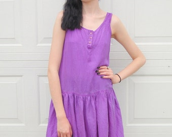 Purple silk drop waist tank dress 1990s 90s VINTAGE