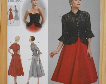 Simplicity 1250 Retro 1950's Vintage Collection Special Occasion Dress and Lace Jacket Pattern