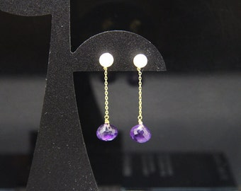 1pair(jke-0013) - sterling silver earrings with natural amethyst and fresh water pearl