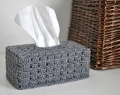 Grey Tissue Box Cover Nursery Decoration  Home Decor Granny Chic Kleenex Box Cover