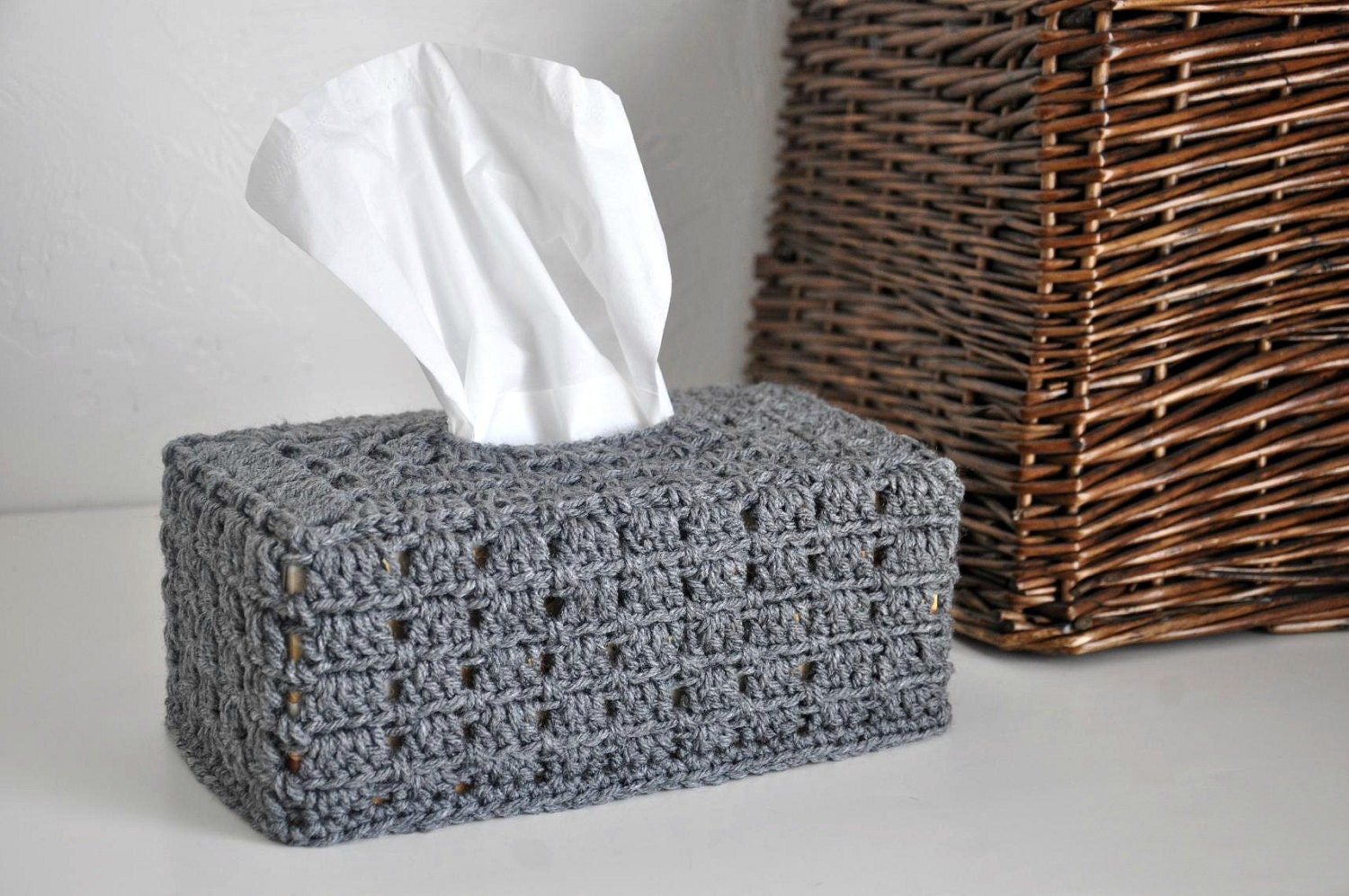 Grey Tissue Box Cover Nursery Decoration Home Decor Granny