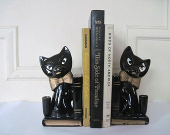 le black cat - vintage 1960s ceramic bookends, pen holder, paperweight - for the Crazy Cat Lady, coworker, Office organizer, Desk library
