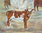 Reserved for Angela, Cows, Guernsey Calf, Hereford Calf, Calf Painting, Cow Painting, Bovine Painting, farm animal, Animal Painting