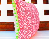 Boho Pink Ikat Pillow Cover pink and green boho chic cushion bohemian decor bright colorful retro preppy pillowcase, eclectic home teen room