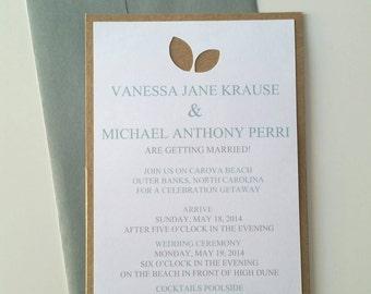 Recycled 5 x 7 Back Pocket Wedding Invitation - Sample