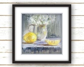 Two Lemons - Painting Print