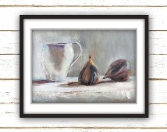 Figs and Tea - Art Print - Large Wall Art