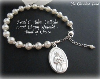 Beautiful Pearl & Silver Traditional Catholic Saint Bracelet - Saint Charm of Choice - 34 charms to choose from