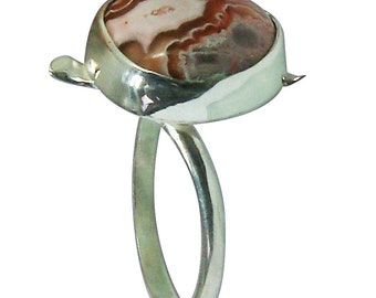 Crazylace Agate and Sterling Silver Ring, Size 8-3/4 r875czle2425