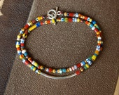 Double Wrap African Christmas Bead Bracelet