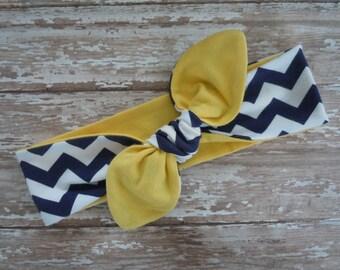 U of M - Michigan Wolverines Top Knot Knit Jersey Headband Head Wrap