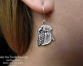 Baby Sea Turtle Earrings Sterling Silver Hand Carved & Cast Fish Hook or Post